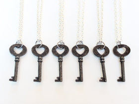 Bridesmaids Key Necklaces set of six antique rustic heart key charm bride bridesmaids
