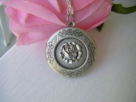 Antique Silver Rose Locket necklace vintage rose gift for her under 30