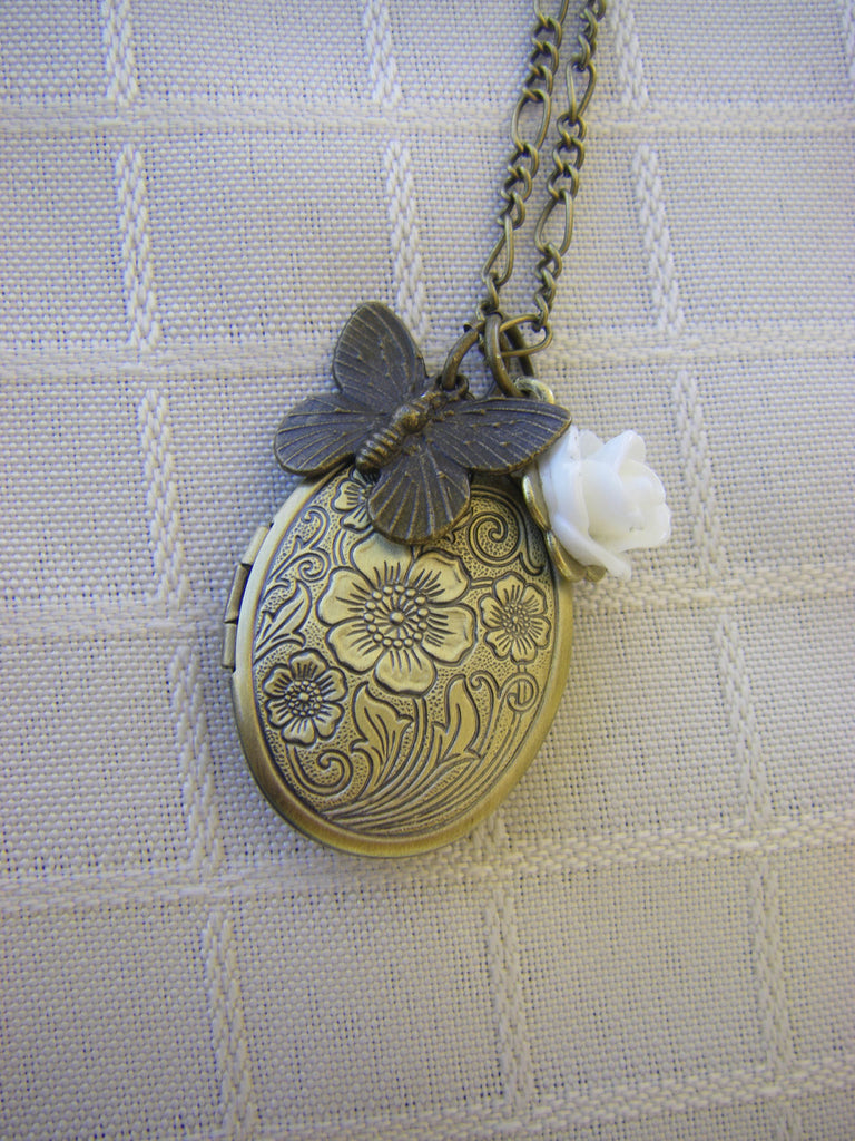 Garden Party Locket Necklace oval floral  vintage butterfly white rose bridesmaid