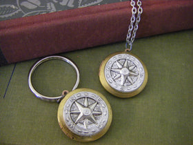 His and Hers Matching Compass Locket key chain  Keychain Wedding Valentines day romantic couple gift his and hers