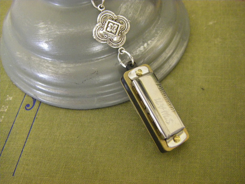 Working Mini Harmonica Necklace Medieval Celtic Stamping Musical Gift sterling silver chain