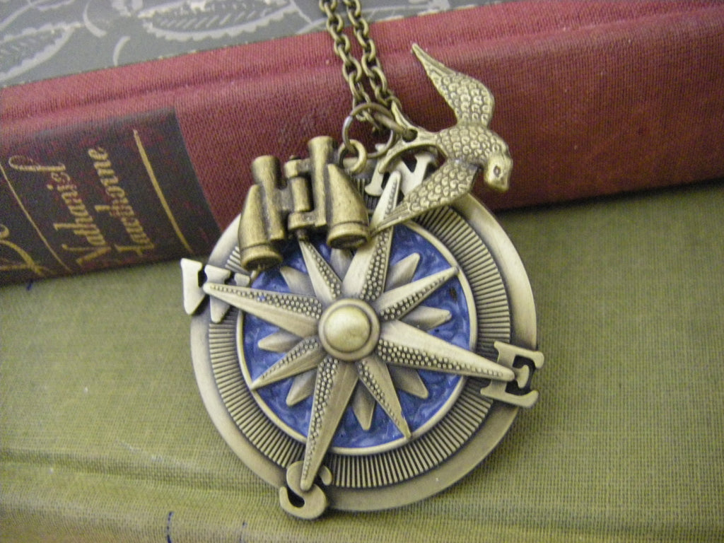 The Adventurer Necklace Compass Sparrow Binoculars Travel Medley Necklace