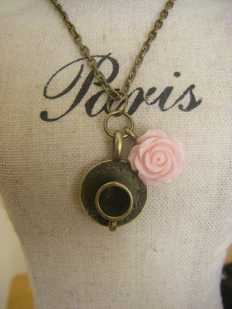 Tea and Roses Teacup necklace gift for her any age tea party theme jewelry pink rose