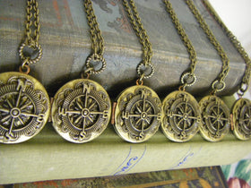 Bridesmaids Gifts Set of 6 Vintage Compass Locket Necklaces beach or vintage wedding