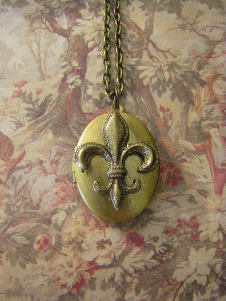 French Market Fleur de Lis Locket Necklace french paris Saints theme