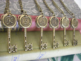 Bridesmaids Gifts Six Initial Key Necklaces wax seal bronze 6 necklaces Choose Letter ALL letters available