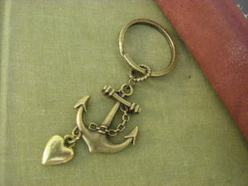 Anchor Key chain brass key ring  Navy Sailor Love Gift for her Wedding party gift
