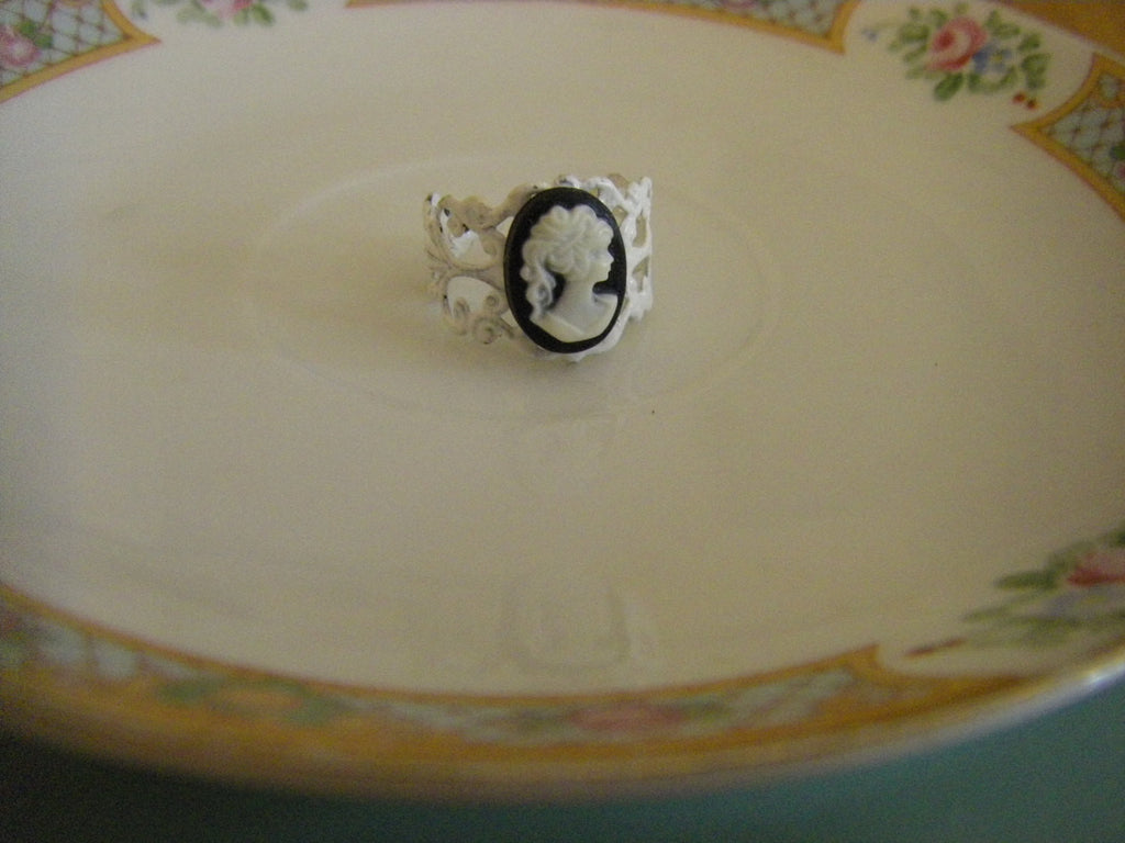 Black and White Cameo Ring Silhouette classic cameo ring adjustable one size victorian shabby chic