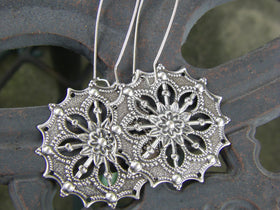 Antique Silver Gypsy Flower Bohemian Earrings Filigree Silver gift for her Boho