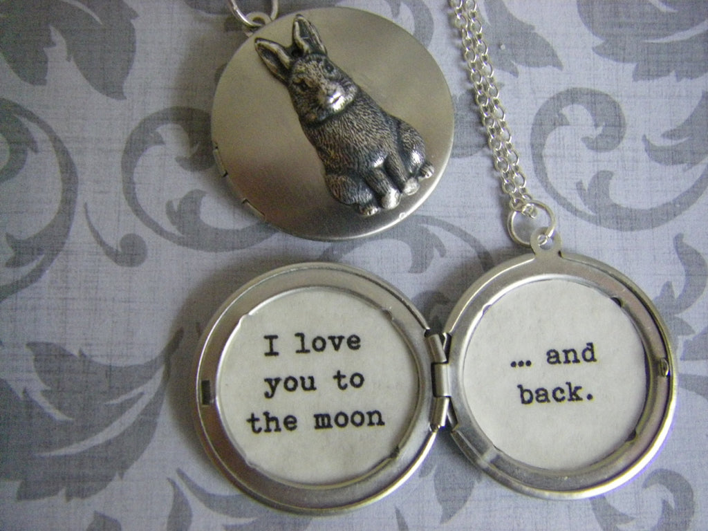 I love you to the moon and back silver locket gift for her storybook locket Nutbrown Hare gift for daughter