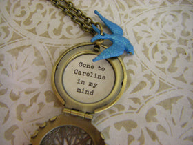Blue Bird quote locket necklace Gone to Carolina in my mind carolina girl blue jay bronze ships quickly from USA