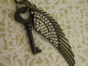 Angel wing Studded Crystal and Key necklace heart shaped key antique charm vintage style feather key ready to ship USA