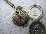 One love, One heart  locket, necklace quote red swarovski gift for girlfriend friend wife