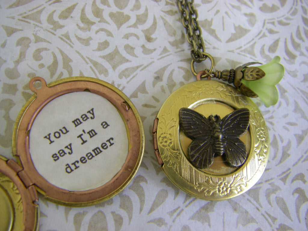 You May Say I'm a Dreamer Locket Necklace John Lennon Imagine Quote Beatles vintage butterfly gift for her