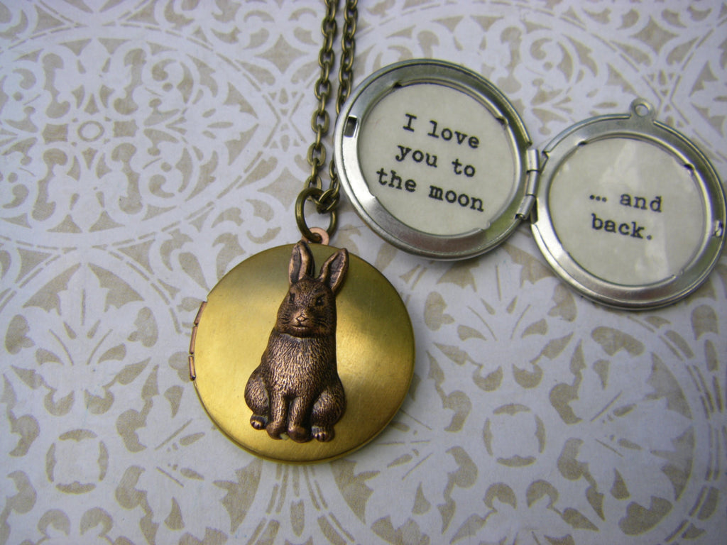 I Love You to the Moon and Back Rabbit Bunny Locket Neckace quote brass locket with quote ships quick from USA