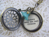 Sister Best Friend locket necklace sisters make the best friends quote bronze key flower