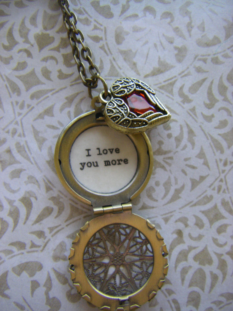 I love you More necklace quote heart wings wife fiance bride groom to bride