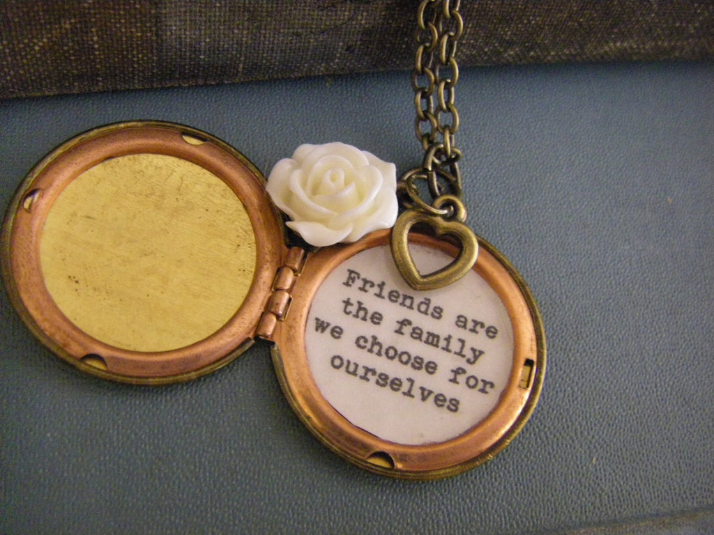 Friends Are the Family We Choose for Ourselves Locket quote friendship locket necklace family friend white rose heart vintage locket
