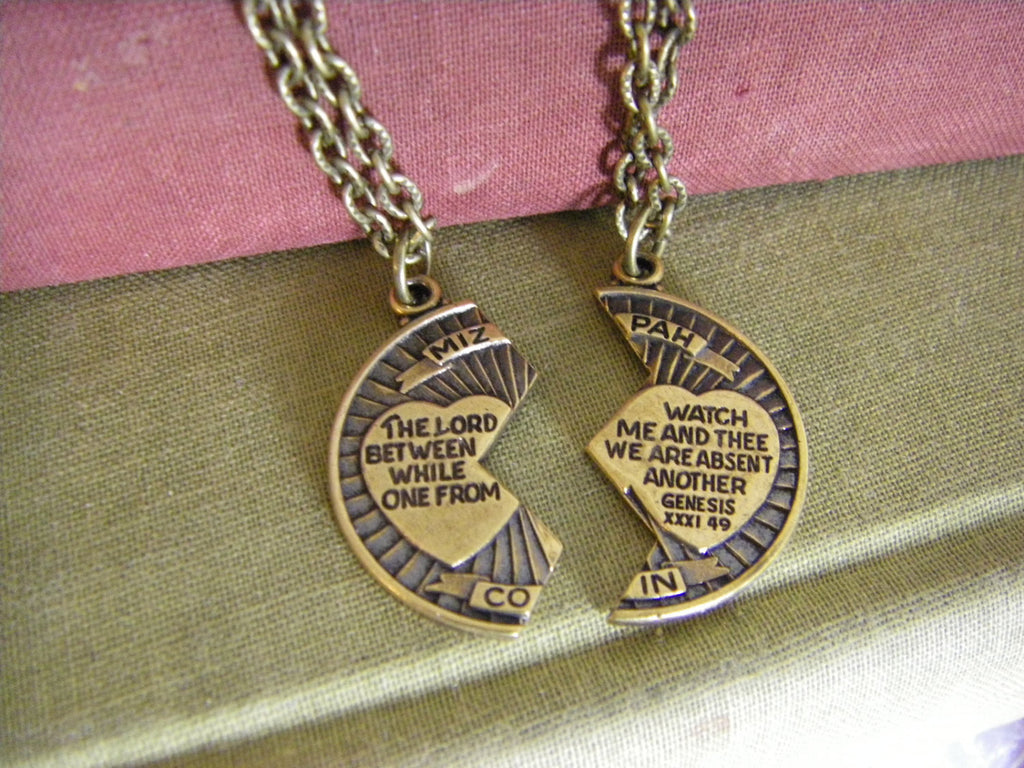Mizpah Coin Blessing Necklace two necklaces couple necklace friend loved one The Lord watch between me and thee friend family