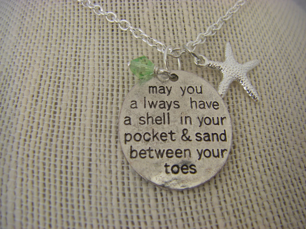 Beach Starfish  Necklace Peridot dangle august May you always have a shell in your pocket &  sand between your toes nautical gift for her