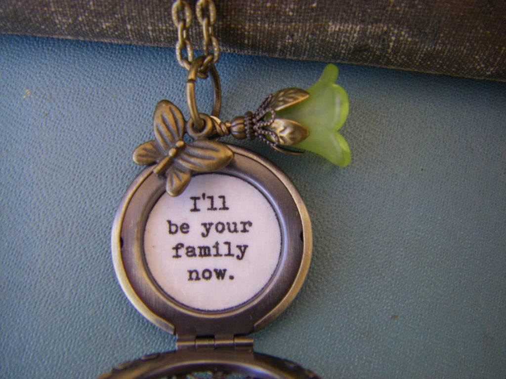 Quote Locket inspired necklace I'll be your family now gift for her butterfly wire wrapped flower