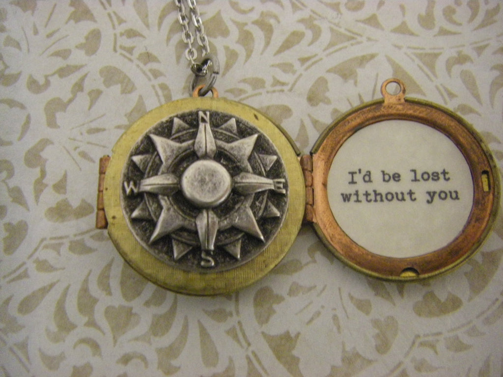 Compass Locket Necklace I'd be lost without you Valentine's Day gift mixed metals wife fiance girlfriend vintage locket