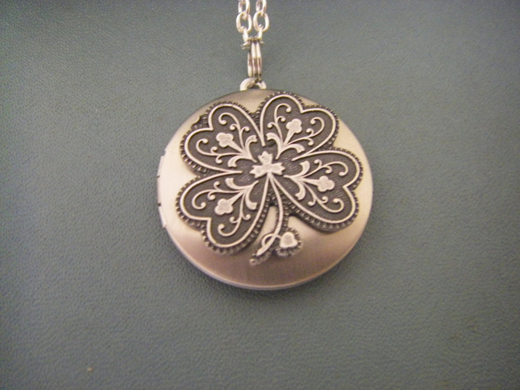 Silver Shamrock Locket Necklace Four leaf clover luck irish good luck gift for her