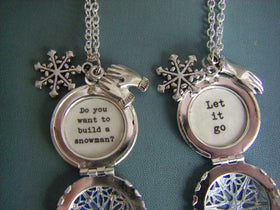 Elsa and Anna Locket necklace set frozen movie quote let it go