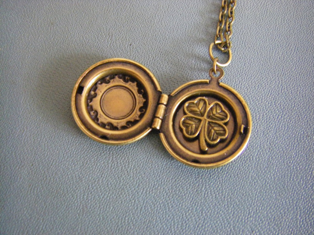 Four Leaf Clover Charm locket shamrock victorian floral bronze irish good luck necklace bon voyage graduation gift friend new job