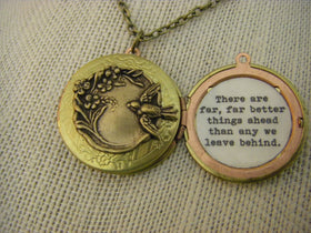 Bird Flowers Locket Necklace C S Lewis There are far better things ahead than any we leave behind Graduation new beginning vintage locket