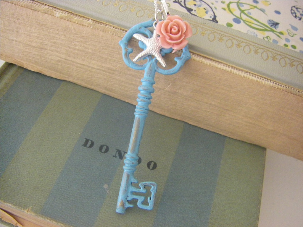 Seaside Cottage. Aqua blue large key necklace rose starfish gift for her shabby chic beach long necklace gift for her