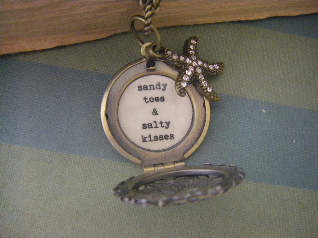 Locket Sandy Toes and Salty Kisses Starfish locket beach theme gift for her ocean nautical