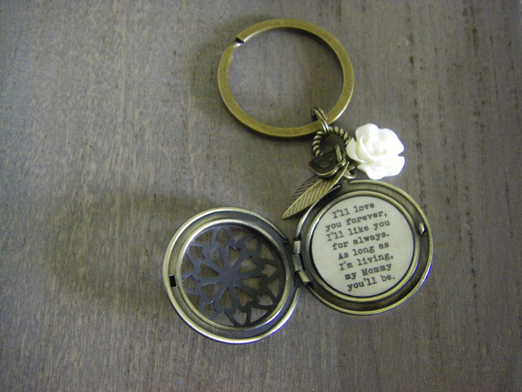 I'll love you forever I'll like you for always Mommy quote Locket Keychain key chain gift for Mom mother of bride ivory rose antique brass