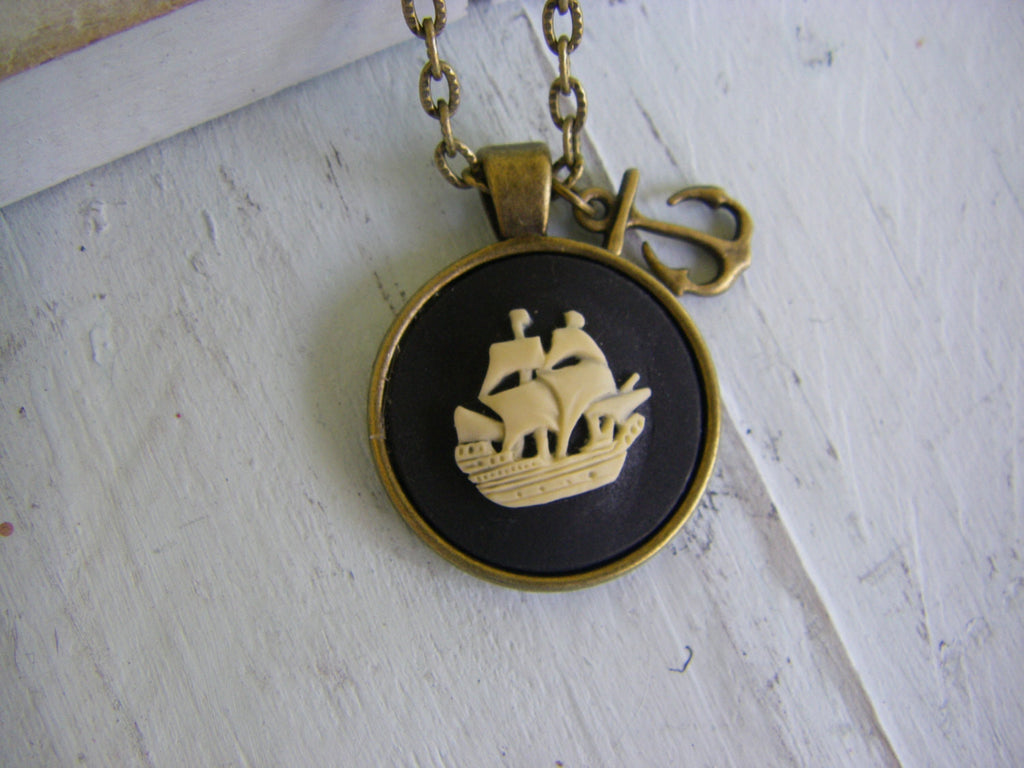 Pirate Ship Cameo Anchor Necklace nautical ship necklace pirate gift for her