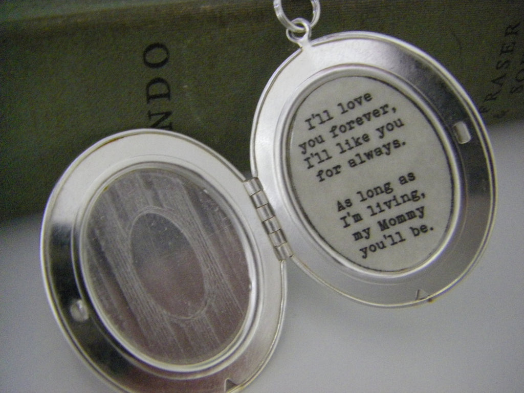 I'll love you forever, I'll like you for always, Mommy Locket , Mother, silver oval locket, mother's day, gift for mom