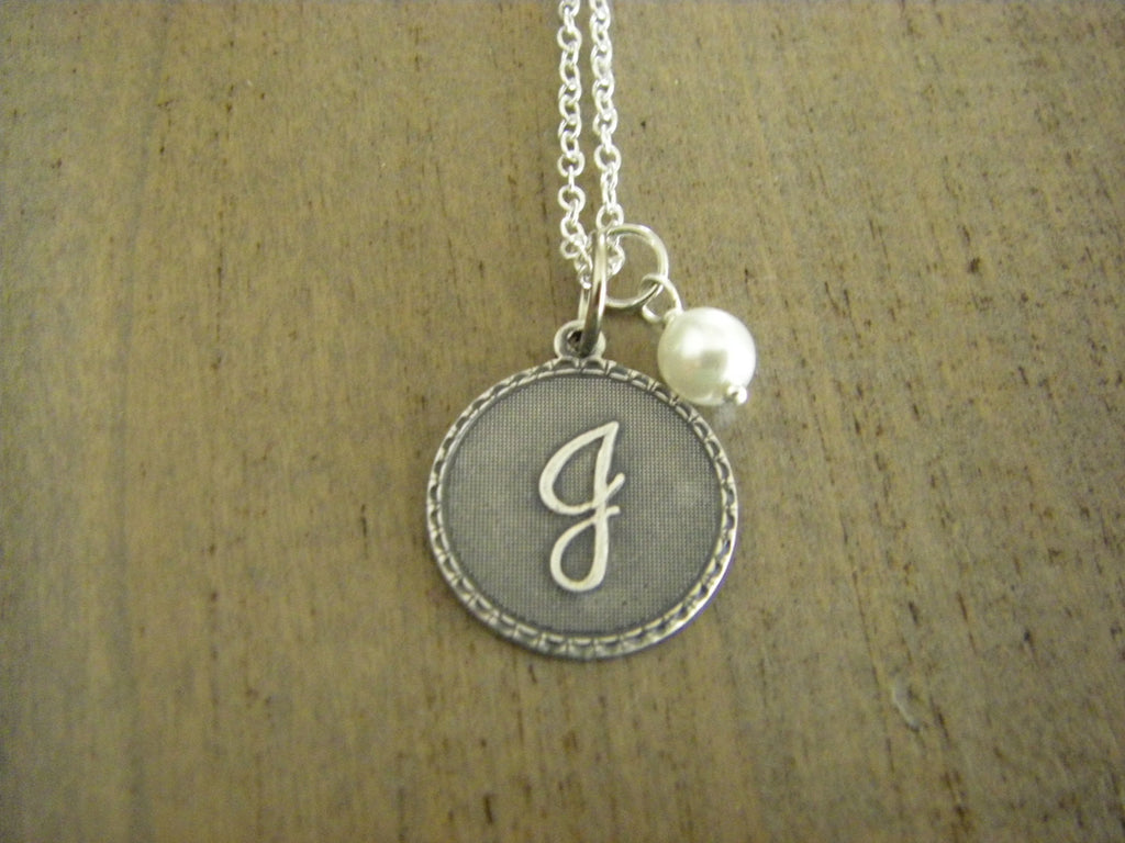 Initial J Letter J Necklace sterling silver chain silver initial wire wrapped glass pearl gift for her personalized