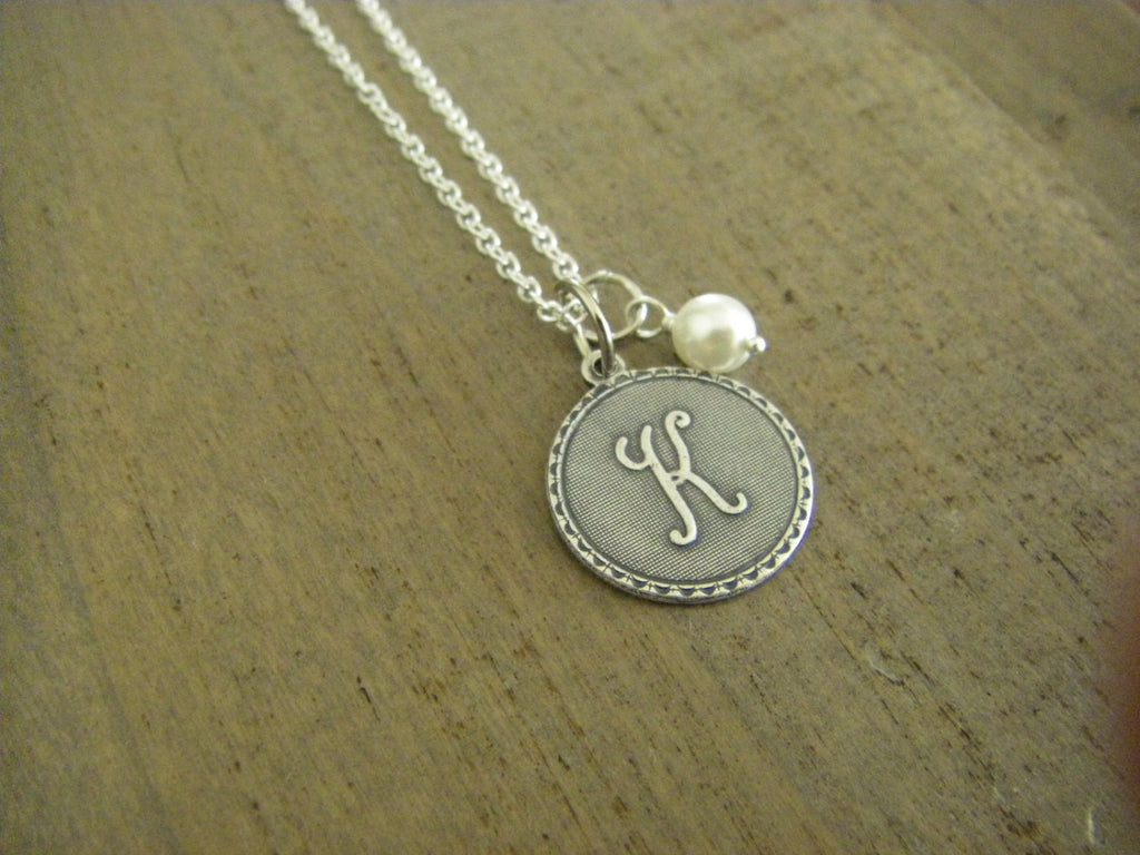 Initial  Letter K Necklace sterling silver chain silver initial wire wrapped glass pearl gift for her personalized