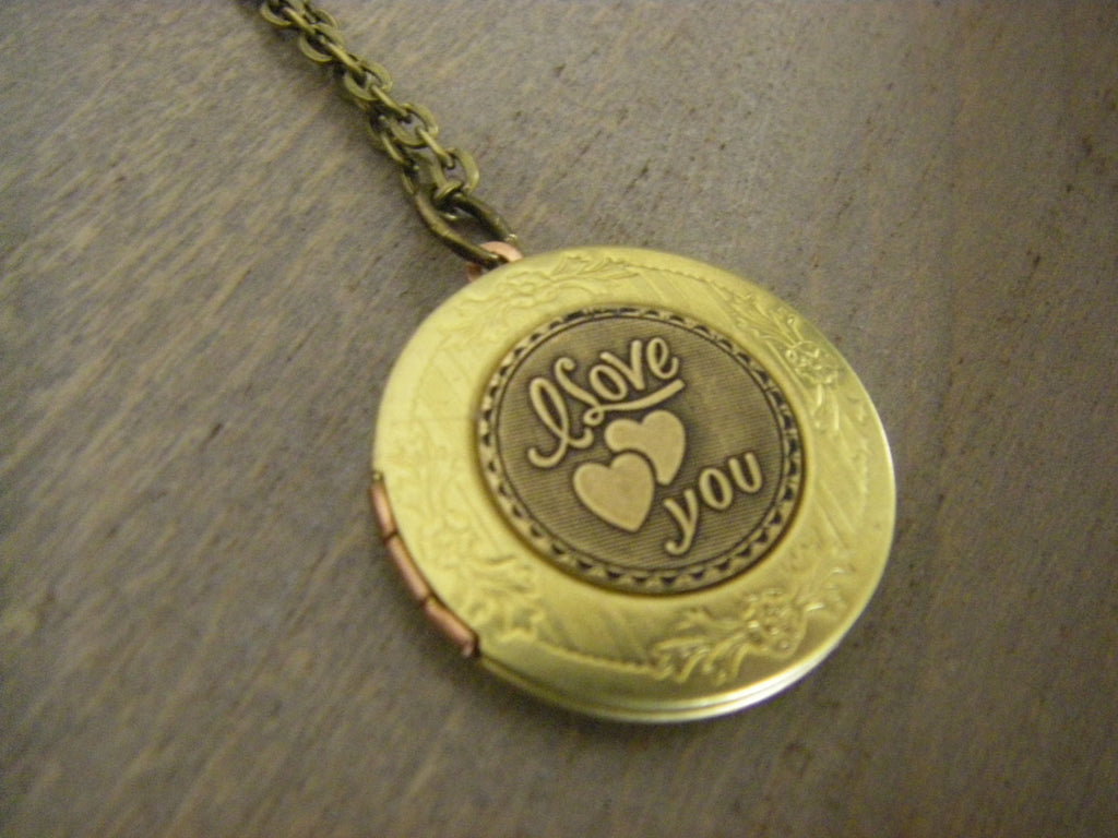 I love you retro locket necklace two hearts vintage charm locket brass valentine gift for her