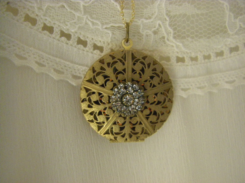 Victorian Brass Swarovski Locket Necklace gold filled chain Valentine gift for her art deco inspired
