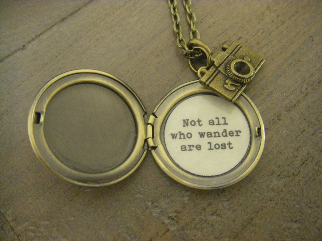 Not All Who Wander Are Lost Map Locket Necklace camera adventure travel graduation leaving home quote locket