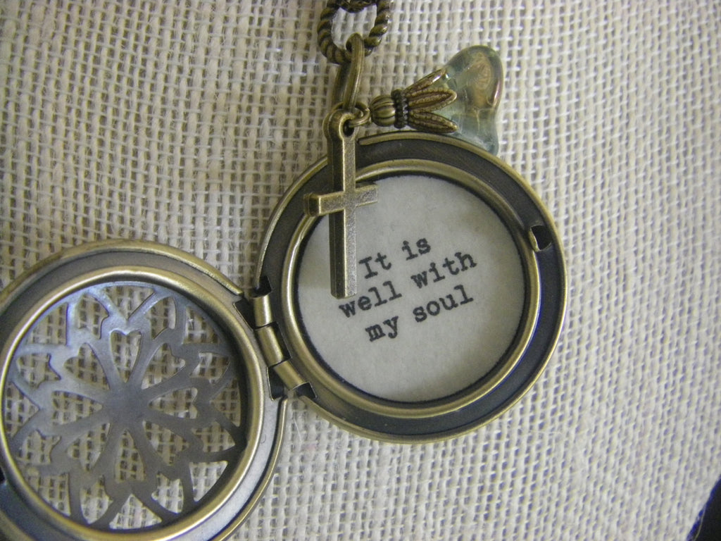 It is well with my soul scripture locket necklace filigree brass cross faith gift for her