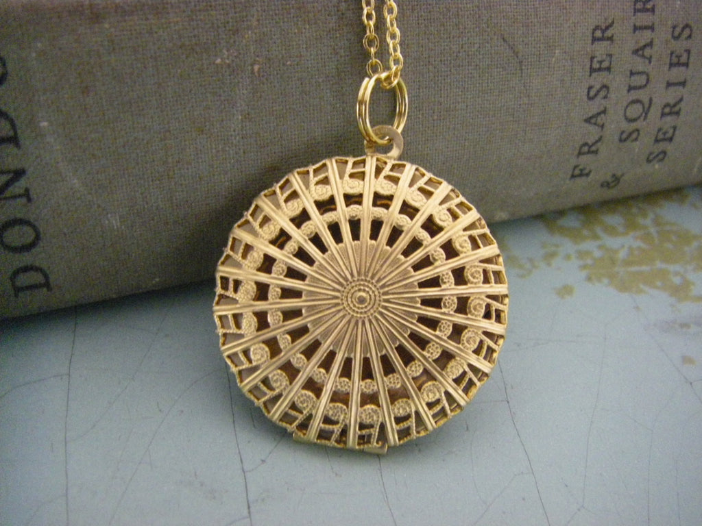 Art Deco Locket Necklace brass filigree locket Gold Filled Chain scent locket classic gift for her