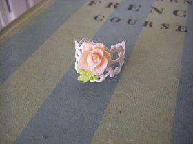 Peach Rose Flower Ring white peach flower ring with stem bridal jewelry flower girl bridesmaids woodland wedding