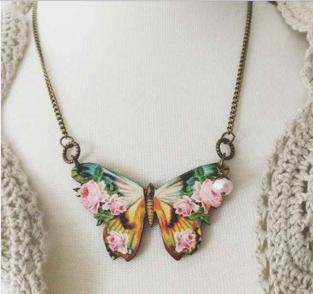 Butterfly and Roses Necklace wooden pendant Garden Party boho jewelry