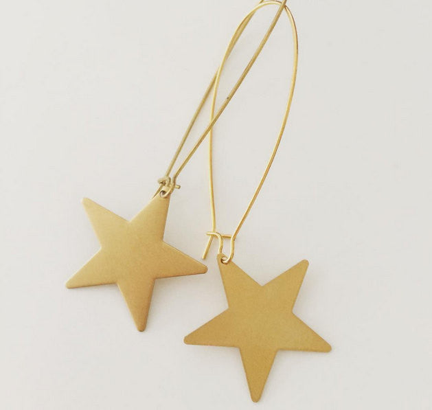 Star Earrings bright raw brass gold earrings lightweight large light