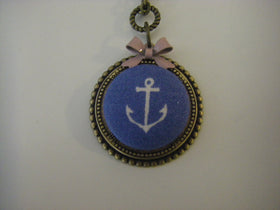 Anchor Button Necklace nautical sailor necklace
