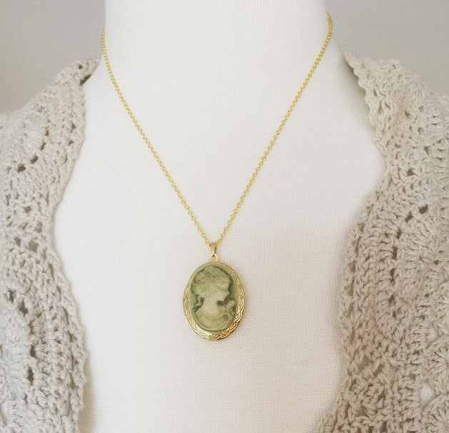 Gold Cameo Locket  gold plated locket on gold filled chain bridesmaid jewelry