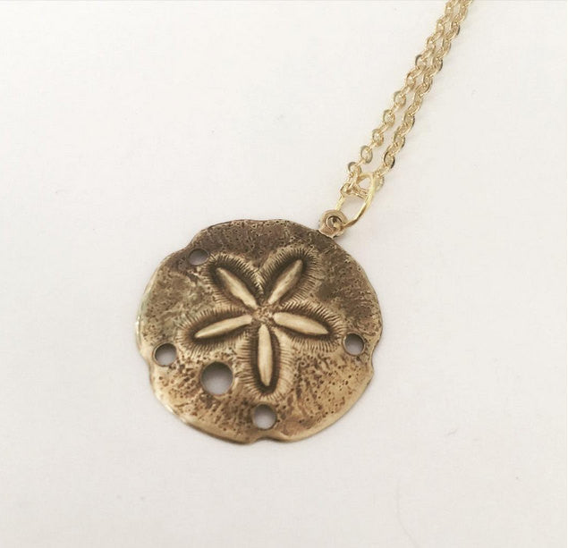 Gold Sand Dollar Necklace bright bronze pendant gold filled chain resort wear
