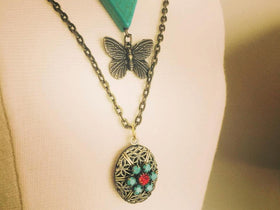Boho Layer Necklace Set Locket butterfly chevron bohemian vintage mix