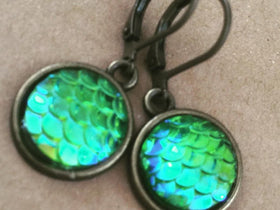 Mermaid Earrings mermaid scales earrings green sparkle and brass